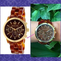 HPAuthentic Michael Kors Women\'s Watch % AUTHENTIC ✨ Beautiful women\'s watch from Michael Kors  Gold plated stainless steel case w/ a brown amber acetate bracelet. Brown amber dial w/ gold tone hands & crystal tipped index hour markers. Chronograph three sub dial. Quartz movement. Scratch resistant mineral crystal. Box & card included. Very pretty casual watch NO TRADE  PRICE IS FIRM ‼️ Michael Kors Accessories Watches