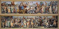 """Antonio Tempesta (Pittore) in: Galleria Pallavicini con i dipinti """"Scena di caccia al leone"""", """"Caccia al cervo"""" e """"Scena di battaglia"""" databile nel periodo 1595 - 1605 e con gli affreschi """"I Trionfi"""" sulle due pareti laterali della sala centrale del Casino."""