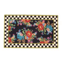 MacKenzie-Childs Flower Market Rug X - Chelsea Gifts Mackenzie Childs Furniture, Mckenzie And Childs, Custom Carpet, Storybook Cottage, Painted Rug, Floral Area Rugs, Braided Rugs, Flower Market, Miniature Dolls