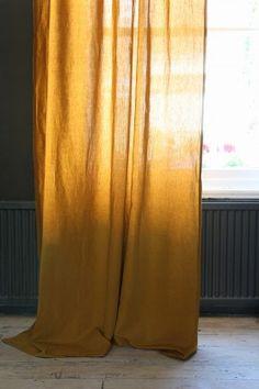 Linen Blend Curtain With Gold Spot - Dijon