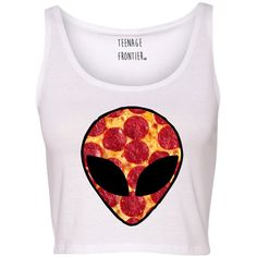 Galaxy Alien Pizza Head Tank Crop Top ($16) ❤ liked on Polyvore featuring tops, crop top, shirts, tanks, tank tops, silver, women's clothing, short sleeve crop top, pink crop top and checked shirt
