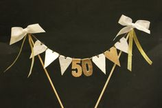 Golden Wedding Anniversary cake topper, cake bunting, cake banner, cake flags, white and gold fabric hearts with gold numbers Golden Wedding Anniversary cake topper cake by SoLuvli<br> Golden Anniversary Cake, 50th Anniversary Cakes, Anniversary Ideas, Anniversary Surprise, 50th Wedding Anniversary Decorations, Creations, Cake Bunting, Cake Banner, Cupcake Flags
