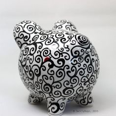 Items similar to Swirly Piggy Bank, hand painted on Etsy Pottery Painting, Ceramic Painting, Diy Painting, Hand Doodles, Personalized Piggy Bank, Paint Designs, Swirls, White Ceramics, Great Gifts