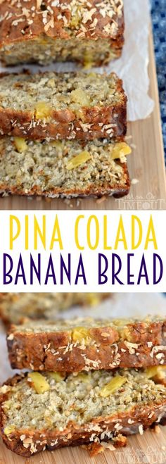 This easy Pina Colada Banana Bread recipe is our new favorite! Super moist and delicious banana bread topped with a pineapple-rum glaze and toasted coconut!  | MomOnTimeout.com