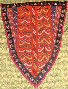 Turkmen,Tekke tribe ,Camel head,size 23 x 29 cm silk on wool embroidery..