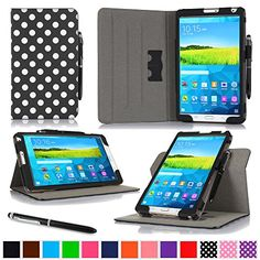 """rooCASE Samsung Galaxy Tab S 8.4 Case - Dual View Multi-Angle Stand 8.4-Inch 8.4"""" Tablet Case - POKADOT BLACK (With Auto Wake / Sleep Smart Cover) rooCASE http://smile.amazon.com/dp/B00L1UDIHA/ref=cm_sw_r_pi_dp_KqIhub16074EY"""