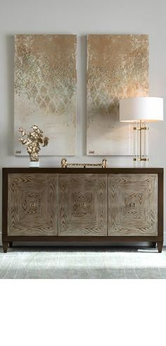 High end furniture. Modern sideboard. Gold tones decoration. For more inspirational news take a look at: www.aussieliving.net
