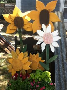 large wooden flowers for the garden