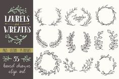 Whimsical Laurels & Wreaths Clip Art - Objects