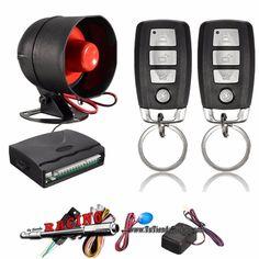 Kit Universal 12V Alarma y Centralizado para Coche + 2 Mandos a Distancia + Sirena -- 28,21€