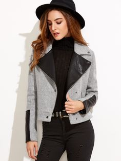 #AdoreWe #SheIn Jackets - SheIn Heather Grey Contrast Faux Leather Combo Jacket - AdoreWe.com