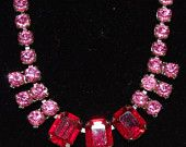 Antique - Rare Wild Rose Pink and Ruby Red Paste - Necklace - c1950s