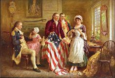 Print: Betsy Ross, 1777 Created/Published : Cleveland, Ohio : The Foundation Press, Inc., c1932 July 28; Creator : Jean Leon Gerome Ferris, artist, 1863-1930. From the Library of Congress Shop. #USHistory #AmericanFlag #FamilyHistory #Flags #History