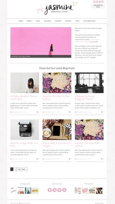 Modern Feminine Wordpress Theme - Meet The Jasmine Website Design Layout, Website Design Inspiration, Fashion Website Design, Website Themes, Website Ideas, Ui Web, Web Design Trends, Wordpress Template, Premium Wordpress Themes