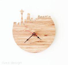 Clock Washington DC DC Monuments Clock by iluxo on Etsy Alarm Clock Design, Time Zone Clocks, Dc Monuments, Bamboo Light, Seattle Homes, Wooden Clock, Paris Eiffel Tower, Large Clock, Mid-century Modern