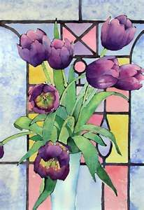 tulips stained glass window
