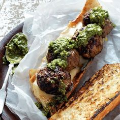 Grilled Meatball Sandwich with Arugula walnut pesto! I like this pesto recipe. I substituted vegan meatballs with lemon zest. Paninis, Tostadas, Quesadillas, Beef Recipes, Cooking Recipes, Meatball Recipes, Sandwich Recipes, Cookbook Recipes, Grilling Recipes