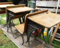 ANTIQUE SCHOOL DESKS, 3 wooden student desks on rail, iron detail, rustic patina $275.00