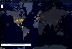 A visualization of geotagged tweets mentioning 'sunrise' in different languages, April 6, 2014, GMT