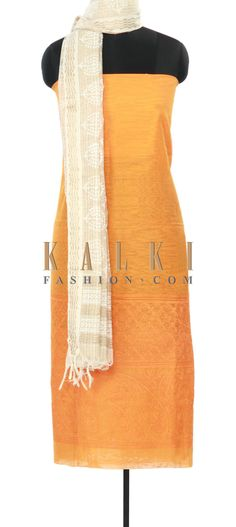 Buy Online from the link below. We ship worldwide (Free Shipping over US$100) Price-$59 Click Anywhere to Tag http://www.kalkifashion.com/orange-unstitched-suit-adorn-in-thread-embroidery-only-on-kalki.html