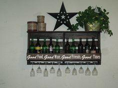 "Pallet Wine Rack - Reclaimed Wood Wine Rack W/ Quote ""good Food, Good Wine, Good…"