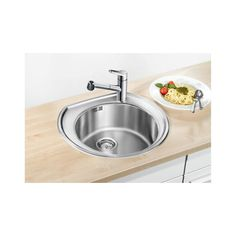 CHIUVETA DE BUCATARIE BLANCO RONDOVAL C 3 1/2 FINISAJ INOX, MONTAJ CLASICA PE BLAT CU MARGINE SI PROFIL CONVENTIONAL DIN INOX - Iak Dog Bowls, Sink, Home Decor, Sink Tops, Vessel Sink, Sinks, Home Interior Design, Decoration Home, Wash Stand