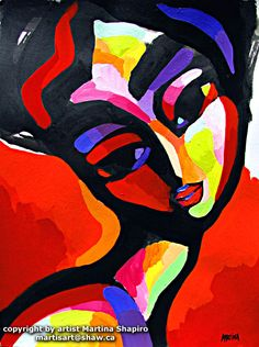 Woman On Red, contemporary original painting red fine art by artist Martina Shapiro.