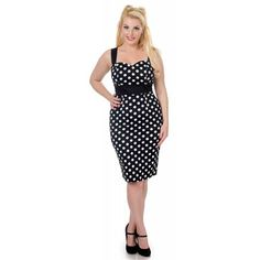 Wiggle Thelma pin up pencil dress with polka dot stop black / white - Vintage 50's Rockabilly retro