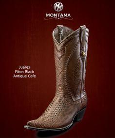 #Montana #Botas #Juarez #PitonBlack #Modelo JR203PY #Color AntiqueCafe #MontanaisBack
