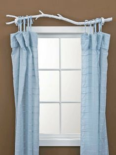 Tree Branch Curtain Rod , super easy DIY project