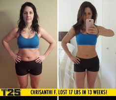 "Chrisanthi F. lost 17 lbs in 13 weeks with Focus T25!    ""Being able to get results in the comfort of my own home, where my infant could be watched at the same time, was the best of both worlds!"""