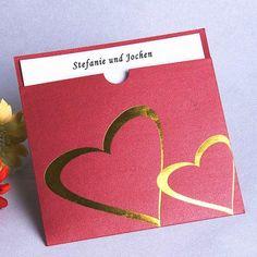 Mein Herz hängt immer an dir Rot Glänzend Romantisch Schiebekarten Hochzeit