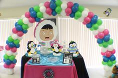 What a great balloon arch at a Penguin party!  See more party ideas at CatchMyParty.com!  #partyideas #penguin