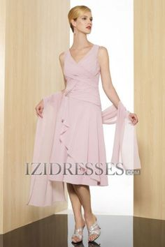 Sheath/Column V-neck Chiffon Mother of the Bride Dresses - IZIDRESSES.COM at IZIDRESSES.com