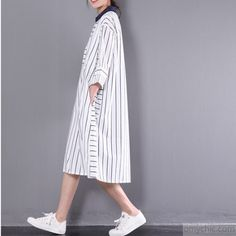 2017 stylish sundress vertical strips plus size shift dress white half sleeve cotton shirt dressesThis unique deisgn deserves the best quality texture. The fabric of this article is soft, comfortable and breathy. Striped Dress, White Dress, Cotton Shirt Dress, Jeans Leggings, Half Sleeves, Casual Wear, Plus Size, Stylish, Fabric