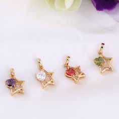 45.5cm Lovely Star Shape Pendant Inlay Heart Zircon 18K Gold Plated Copper Necklace