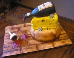 Hey, who spilled the wine? This is a cake I made as a surprise for my husband's clients, John and Lisa. Wine Theme Cakes, Themed Cakes, Gorgeous Cakes, Amazing Cakes, Garden Theme Cake, Cheese Dreams, Retirement Cakes, Cake Shapes, Decadent Cakes