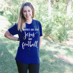 Sundays are for Jesus and Football Short Sleeve Tee - Graphic T Shirt This Sundays are for Jesus and Football Short Sleeve Tee is sure to make any day brighter and have everyone asking you where you got this great shirt.  Our shirts are 100% made in the USA, and we use a high-quality unisex t-shirt that is insanely soft. In fact, it will be one of the softest, best fitting, most comfortable shirts you've ever owned.