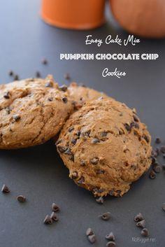 Easy cake mix pumpkin chocolate chip cookies - so easy | recipe on NoBiggie.net