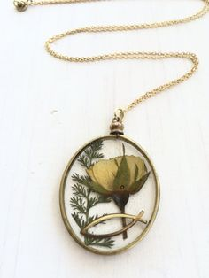 Real Pressed Yellow Rose Flower with Jesus by flowersfadejewelry