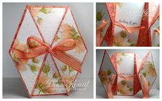This is my sample for the Double Diamond Fold tutorial - you can find all the… Card Making Tutorials, Card Making Techniques, Making Ideas, Origami, Fancy Fold Cards, Folded Cards, Pop Up Cards, Cool Cards, 3d Cards