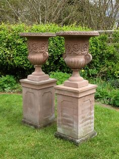 Very smart pair of cast stone campana urns on pedestals from The Vintage Garden Co on The Hoarde