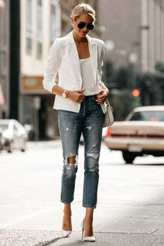 Fashion Jackson Blonde Woman Wearing White Blazer Distressed Jeans Outfit, Street Style, Dallas Blogger, Fashion Blogger #womenjeans