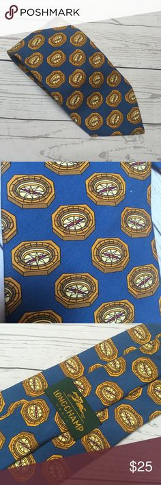 Longchamp Paris 100% Silk Compass Tie In perfect condition Longchamp tie. Features a blue background and a compass design. Woven from silk; made in Italy. Longchamp Accessories Ties