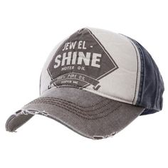Gray patchwork cotton baseball cap style zz92601002 in Indressme ($26) via Polyvore