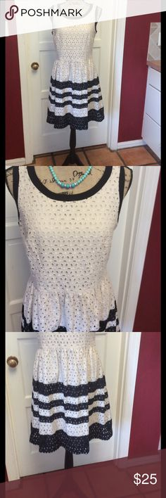 NWOT pretty ivory and black eyelet dress Gorgeous dress never used Ice Dresses Midi