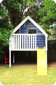 45 Magically Sweet Backyard Playhouse Ideas for Kids Garden - caindale news Outside Playhouse, Backyard Playhouse, Build A Playhouse, Backyard Playground, Backyard For Kids, Playhouse Ideas, Backyard Ideas, Cubby Houses, Play Houses