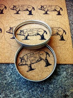 Pig Coasters by TheCraftyCamie on Etsy, $15.00