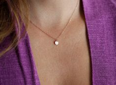 Rose Gold Initial Disc Necklace Extra Small Initial by MinimalVS, $35.00