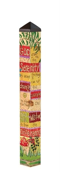 Wildly Popular new item designed by Stephanie Burgess for Painted Peace. This is a 3' Peace Pole made in the USA! -It is 4 x 4 square. -Long-lasting and maintenance free. -Made of strong, lightweight PVC to reduce shipping costs. -Laminated for fade-resistance and added durability. -Easy to